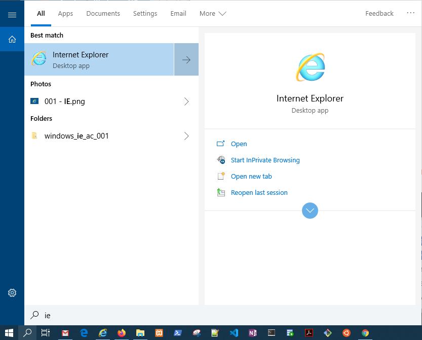 Screen Shot - search for Internet Explorer application.